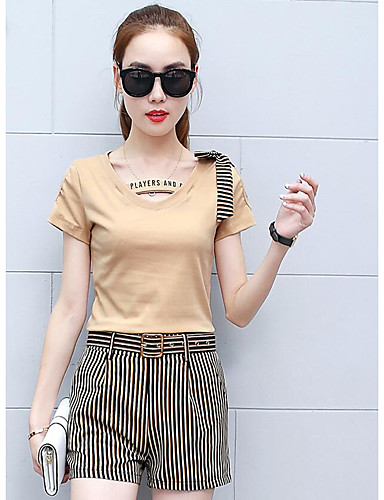 Women's Other Casual Casual Summer Shirt Pant Suits,Solid Striped V Neck Short Sleeve Cotton/nylon with a hint of stretch