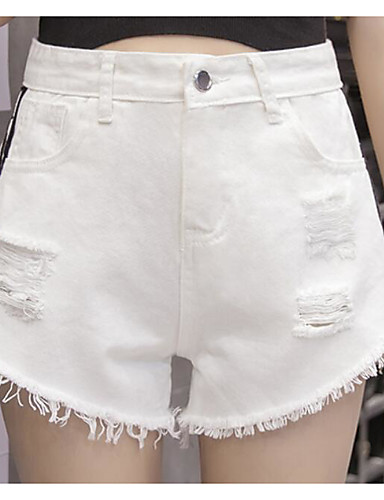 Women's Mid Rise Micro-elastic Jeans Shorts Pants,Street chic Straight Solid