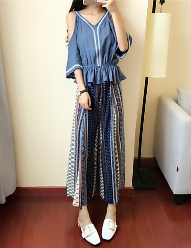 Women's Going out Vintage Summer T-shirt Pant Suits,Striped Round Neck Long Sleeve Cashmere