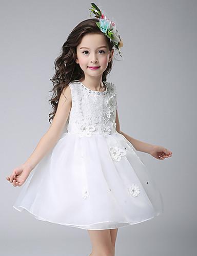 Princesa Até os Joelhos Vestido para Meninas das Flores - Renda Polyster Sem Manga Decorado com Bijuteria com Pérolas Sintéticas Apliques