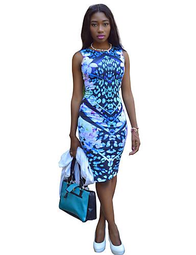 Mulheres Feriado / Para Noite / Bandagem Skinny Evasê / Tubinho / Bainha Vestido - Estilo Artístico / Estilo Moderno / Clássico, Floral Altura dos Joelhos Azul / Verão / Praia