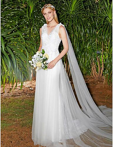 A-linje V-hals Svøpeslep Blonder Tyll Egendefinerte brudekjoler med Drapering Blonder av LAN TING BRIDE®
