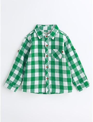 Boys' Houndstooth Shirt,Cotton Spring Fall Long Sleeve Green