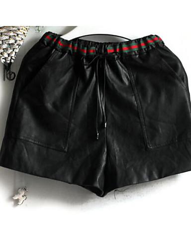 Women's Mid Rise Micro-elastic Shorts Pants,Simple Straight Color Block