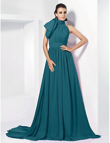 5307eb004840 Linea-A Collo alto Strascico di corte Chiffon Ispirazione Vintage Serata  formale Vestito con Fiocco (fiocchi)   A pieghe di TS Couture®