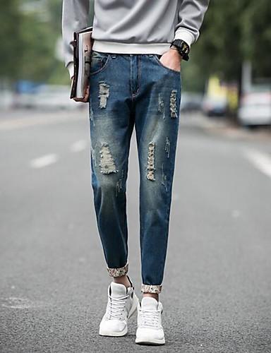 Men's Mid Rise Inelastic Skinny Slim Pants,Active Skinny Slim Ripped Solid