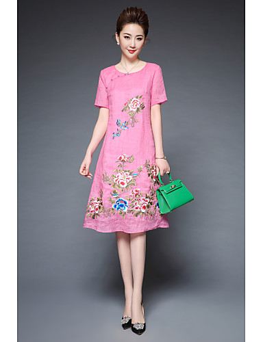 Women's Going out Work Vintage Street chic Sheath Swing Dress,Embroidered Round Neck Knee-length Short Sleeves Linen Polyester Others