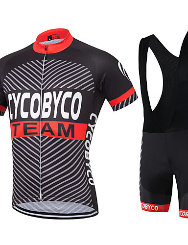 cheap Cycling Clothing-Men's Short Sleeve Cycling Jersey with Bib Shorts Black / Red Solid Color Bike Shorts Jersey Quick Dry Reflective Strips Sweat-wicking Sports Polyester Coolmax® Silicon Solid Color Mountain Bike MTB
