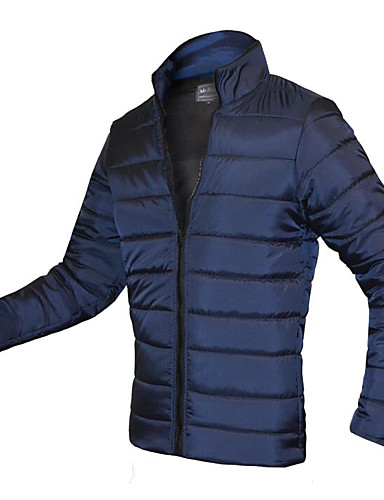 Men's Regular Padded Coat,Simple Active Going out Casual/Daily Solid-Cotton Rayon Cotton Long Sleeves