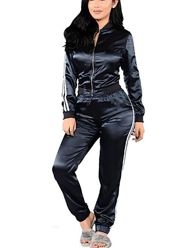 Women's Daily Sports Holiday Casual Street chic Winter Fall T-shirt Pant Suits,Striped Peter Pan Collar Long Sleeve Polyester