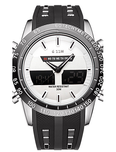Herre Sportsklokke Moteklokke Armbåndsur Unike kreative Watch Hverdagsklokke Kinesisk Quartz Kalender Vannavvisende Stor urskive Silikon