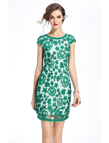 Women's Work Vintage Street chic Sheath Dress - Embroidered Lace Flower