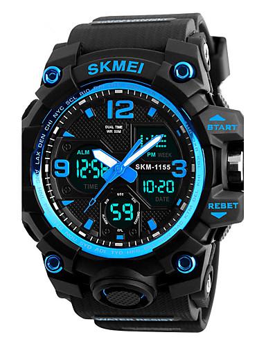 SKMEI Men's Sport Watch Military Watch Wrist Watch Japanese Quartz 50 m Water Resistant / Water Proof Alarm Calendar / date / day PU Band Analog-Digital Fashion Black - Red Blue Golden / Chronograph