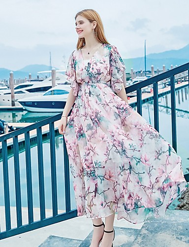 Women's Party / Daily / Holiday Butterfly Sleeves Maxi Loose / Swing Dress - Floral Artistic Style / Vintage Style / Lace up V Neck Summer Pink M L XL / Going out / Beach