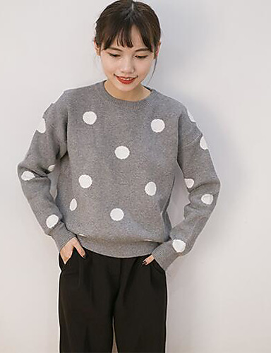 Women's Daily Casual Regular Pullover,Print Round Neck Long Sleeves Others Fall Thick Stretchy