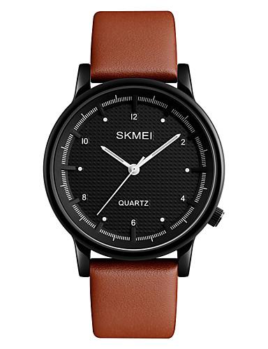 SKMEI Homens Relógio de Pulso Relógio Elegante Relógio de Moda Japanês Quartzo Impermeável Couro Banda Legal Preta Marrom
