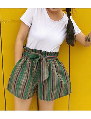 Women's Mid Rise Inelastic Shorts Pants,Cute Wide Leg Striped