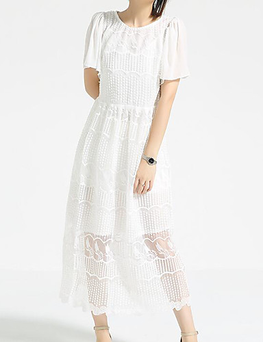 Women's Casual/Daily A Line Swing Dress,Solid Polka Dot Round Neck Midi Short Sleeves Cotton Polyester Summer Mid Rise Micro-elastic