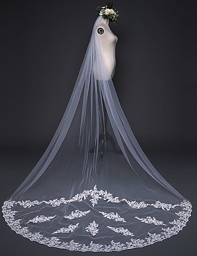 One-tier Cut Edge Lace Applique Edge Pencil Edge Wedding Veil Cathedral Veils 53 Appliques Embroidery Ruched Ruffles Tulle