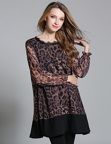 Women's Going out Casual/Daily Sexy Loose Chiffon Dress,Leopard Round Neck Above Knee Long Sleeves Polyester Fall High Rise Inelastic Thin