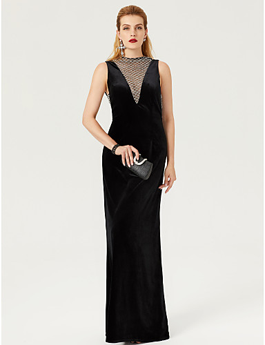 Sheath / Column High Neck Floor Length Velvet Open Back / See Through / Celebrity Style Cocktail Party / Formal Evening Dress with Lace by TS Couture®