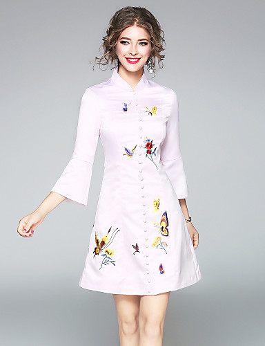 Women's Going out Daily Cute Chinoiserie Sheath Dress