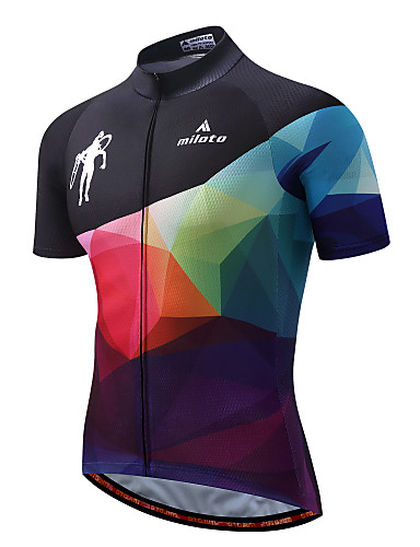 cheap Cycling Clothing-Miloto Men's Short Sleeve Cycling Jersey - Orange / Black Gradient Bike Jersey Top Reflective Strips Sports Polyester Spandex Mountain Bike MTB Road Bike Cycling Clothing Apparel / Stretchy