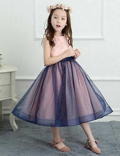 A-Line Tea Length Flower Girl Dress - Mesh Satin Sleeveless Jewel Neck with Bowknot by LAN TING BRIDE®