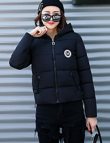 Women's Short Down Coat,Simple Casual/Daily Solid Print-Polyester Polypropylene Long Sleeves