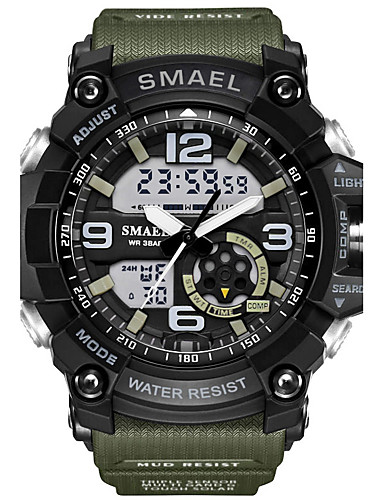 SMAEL Men's Sport Watch Fashion Watch Military Watch Japanese Digital 50 m Water Resistant / Water Proof Calendar / date / day Chronograph PU Silicone Band Analog-Digital Casual Black / Red / Orange
