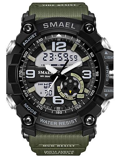 358ca1f5fd7 SMAEL Homens Relógio Esportivo Relógio de Moda Relógio Militar Japanês  Digital Couro PU Acolchoado Silicone Preta   Vermelho   Laranja 50 m  Impermeável ...