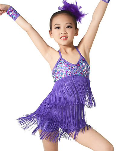 b7e00c4e77c4 Latin Dance Outfits Training Spandex / Sequined Sequin / Tassel Sleeveless  Natural / Performance / Ballroom