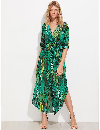 Women's Going out Boho Swing Dress,Print Shirt Collar Asymmetrical Long Sleeves Polyester Summer Fall High Rise Inelastic Thin