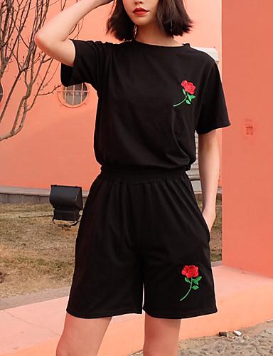 Dame Ferie Fritid Bomull T-skjorte Bukse Ensfarget