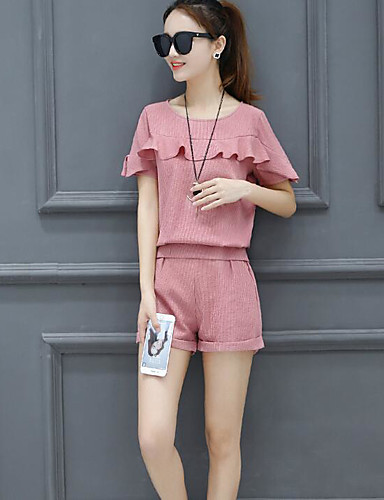 Women's Casual Casual Summer Shirt Pant Suits,Solid Round Neck Short Sleeve 100% Cotton