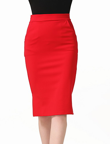 Women's Daily Club Holiday Going out Knee-length Skirts,Casual Sexy Bodycon Polyester Solid Spring Summer Fall