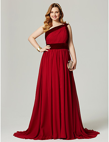 A-Line One Shoulder Sweep / Brush Train Chiffon / Velvet Cocktail Party / Formal Evening / Holiday Dress with Sash / Ribbon / Pleats /