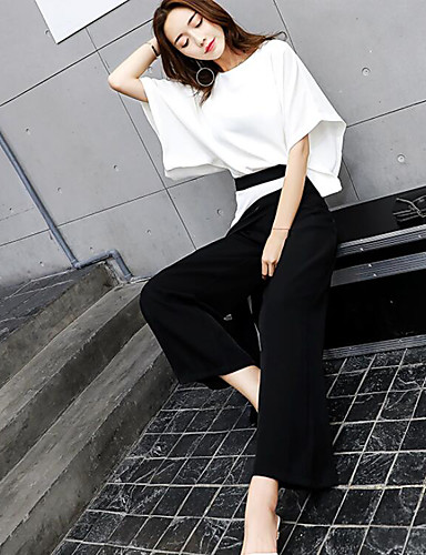 Women's Daily Modern/Comtemporary Summer Blouse Pant Suits,Solid Round Neck 1/2 Length Sleeve