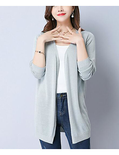 Women's Long Sleeves Cardigan - Solid