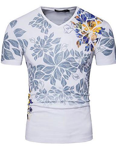 Lin V-hals T-skjorte Herre Trykt mønster Enkel / Kortermet