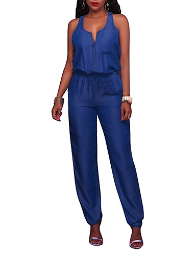 Women's Club Going out Holiday Street chic Jumpsuit - Solid Colored, Denim High Rise