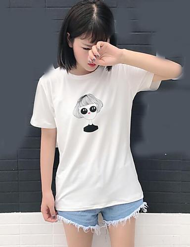 Naiset Lyhythihainen Pyöreä kaula-aukko Muu Söpö Bile T-paita,Painettu