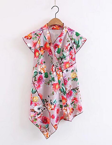 Women's Casual/Daily Going out Simple Sexy Shirt,Solid Floral Print Stand Short Sleeves Cotton Others