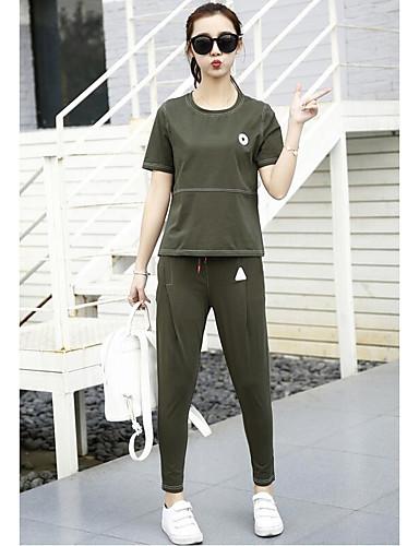 Kortermet,Rund hals T-skjorte Bukse Drakter Ensfarget Sommer Sport Sport Dame