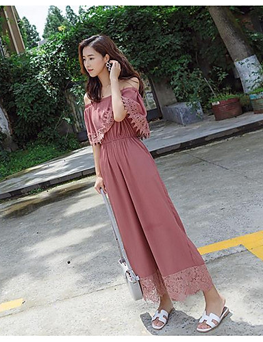 Women's Work Daily Casual Fashion Solid Color Boat Neck Jumpsuits