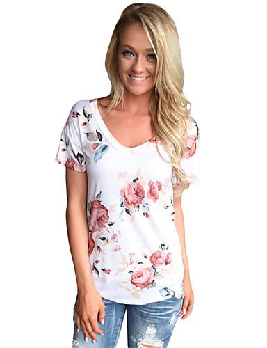 Naisten Polyesteri Spandex Painettu T-paita