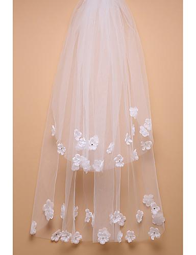 Two-tier Cut Edge Wedding Veil Fingertip Veils 53 Rhinestone Tulle