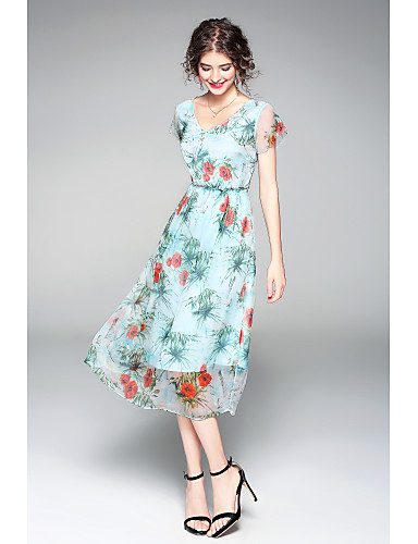 Women's Holiday Going out Casual/Daily Vintage Chinoiserie Sophisticated Sheath Swing Dress,Print V Neck Asymmetrical Short Sleeves Silk