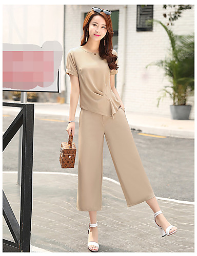 Women's Business Daily Soak Off Summer Blouse Pant Suits,Solid Round Neck Short Sleeve Formal Style Inelastic