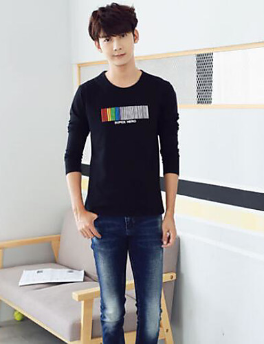 Men's Cotton T-shirt - Letter, Print Round Neck